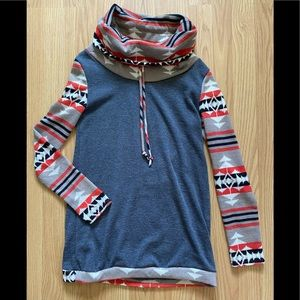 12PM by Mon Ami cowl neck Aztec sweater S